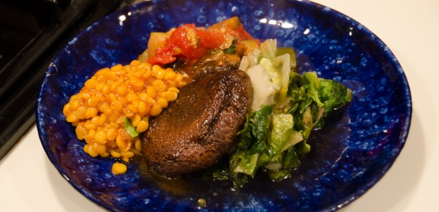 Ratatouille, Roasted Portobellos w/ Curried Lentils