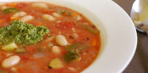 Home » Recipes » White Bean and Vegetable Soup with Pesto