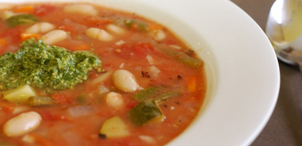 White Bean and Vegetable Soup with Pesto