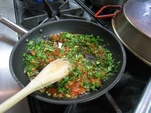 cilantro and tomatoes in skillet- indian